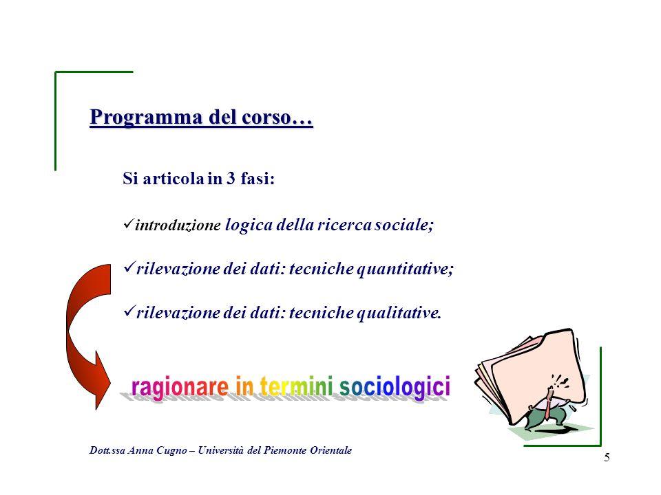 5 Programma del corso… Si articola in 3 fasi: introduzione logica della ricerca sociale; rilevazione dei dati: tecniche quantitative; rilevazione dei