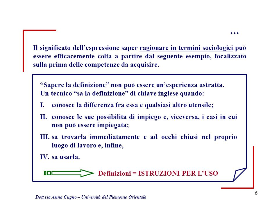 6 … Il significato dellespressione saper ragionare in termini sociologici può essere efficacemente colta a partire dal seguente esempio, focalizzato sulla prima delle competenze da acquisire.
