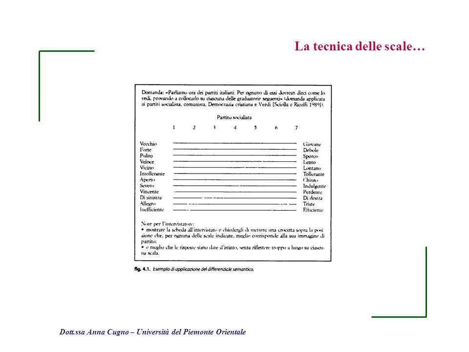 Dott.ssa Anna Cugno – Università del Piemonte Orientale La tecnica delle scale…