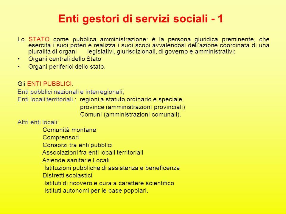 Enti gestori di servizi sociali - 1 Lo STATO come pubblica amministrazione: è la persona giuridica preminente, che esercita i suoi poteri e realizza i