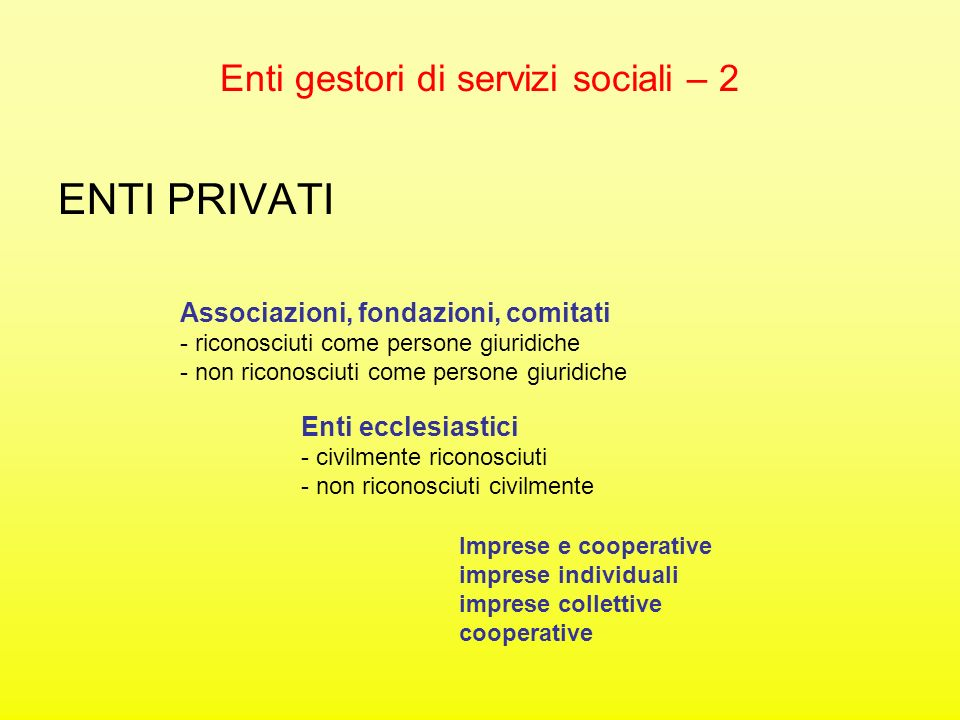 Enti gestori di servizi sociali – 2 ENTI PRIVATI Associazioni, fondazioni, comitati - riconosciuti come persone giuridiche - non riconosciuti come per