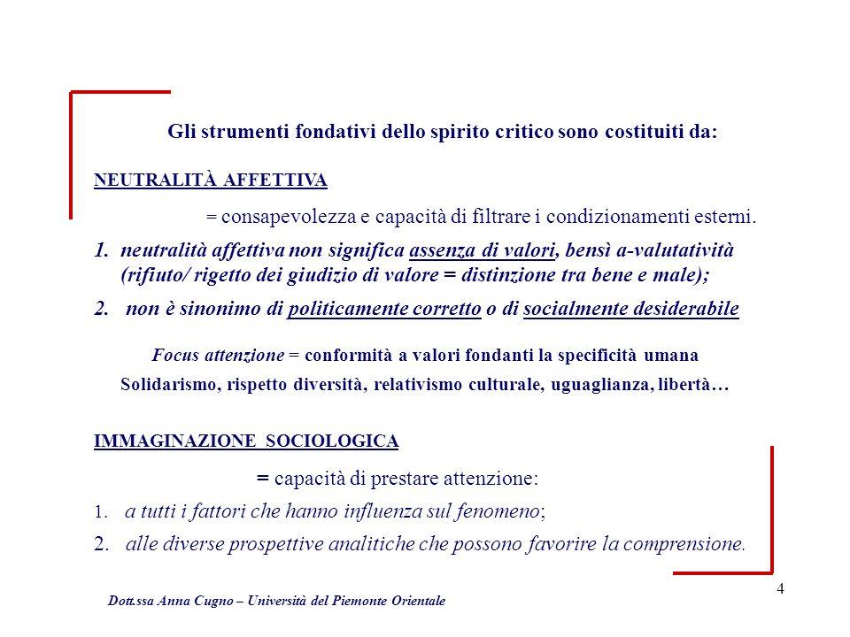 4 Dott.ssa Anna Cugno – Università del Piemonte Orientale Gli strumenti fondativi dello spirito critico sono costituiti da: NEUTRALITÀ AFFETTIVA = con