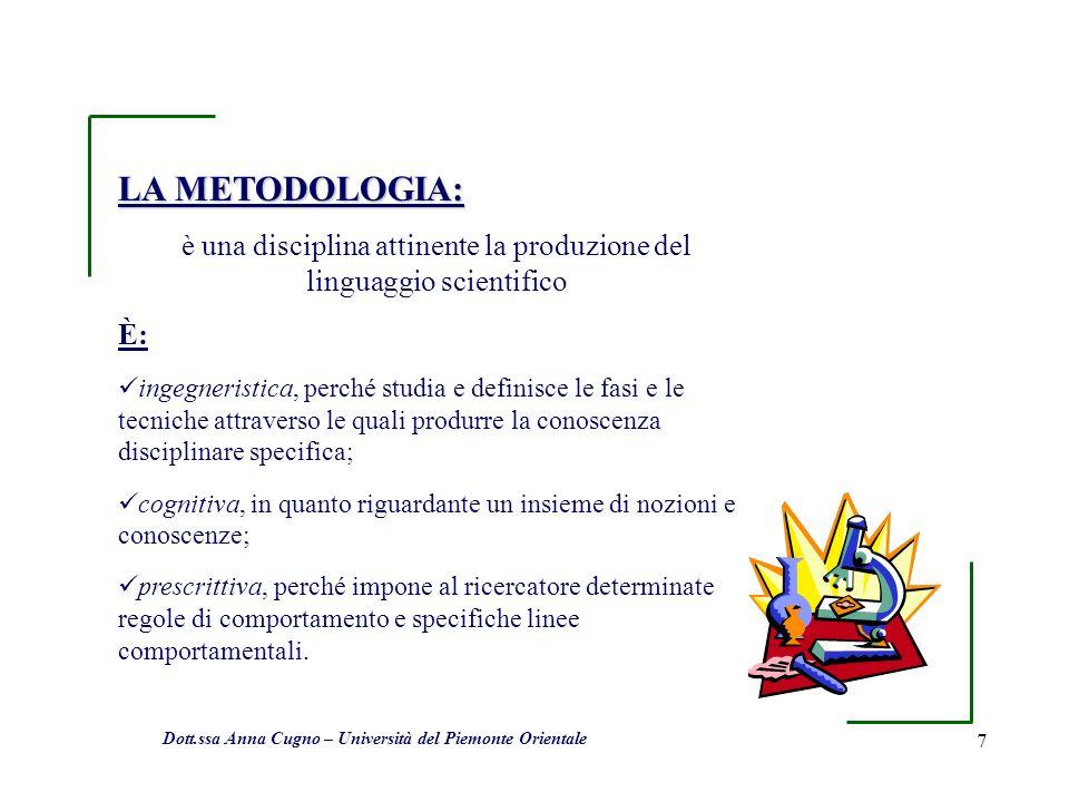 7 LA METODOLOGIA: è una disciplina attinente la produzione del linguaggio scientifico È: ingegneristica, perché studia e definisce le fasi e le tecnic