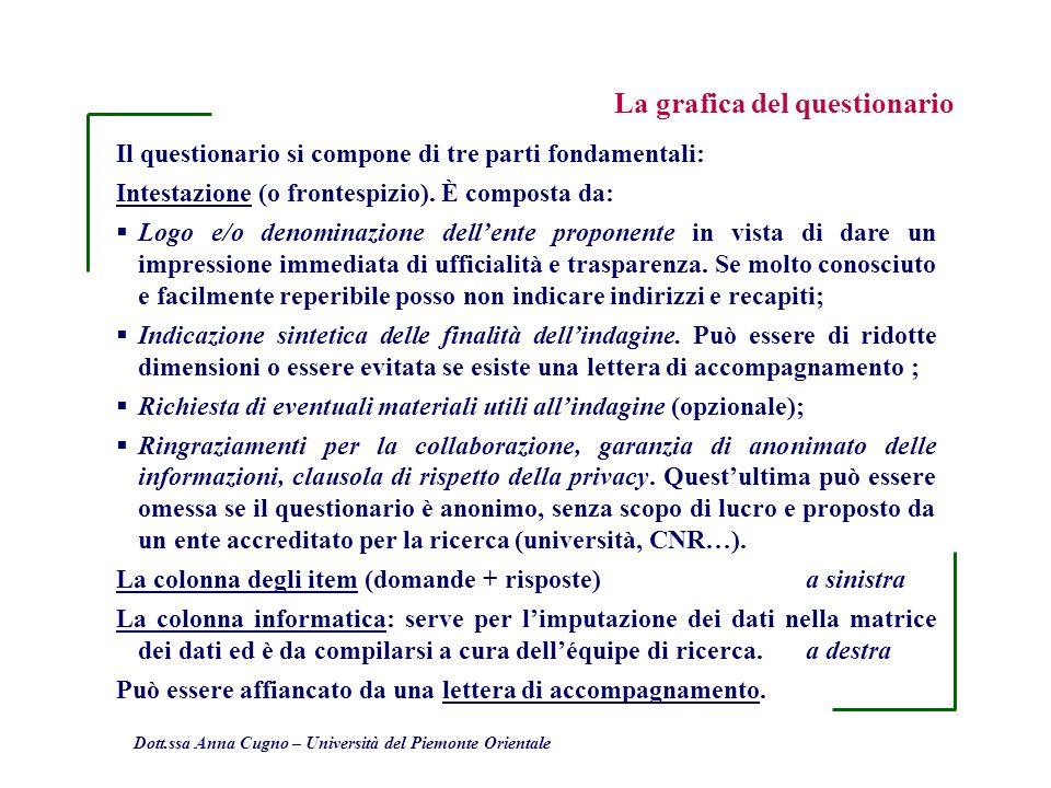 Dott.ssa Anna Cugno – Università del Piemonte Orientale Il questionario si compone di tre parti fondamentali: Intestazione (o frontespizio). È compost