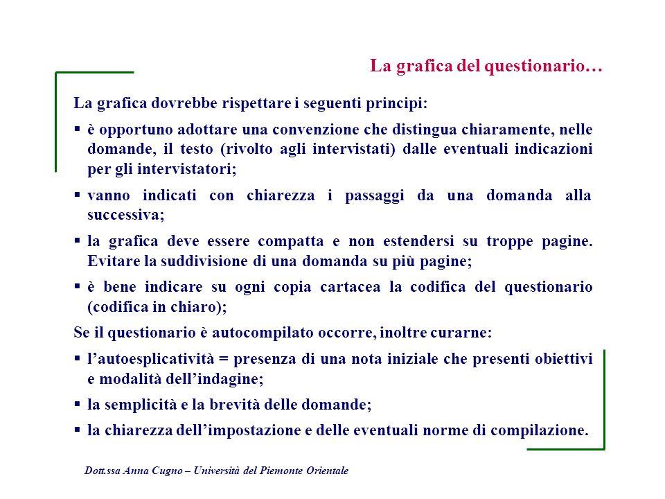 Dott.ssa Anna Cugno – Università del Piemonte Orientale La grafica dovrebbe rispettare i seguenti principi: è opportuno adottare una convenzione che d