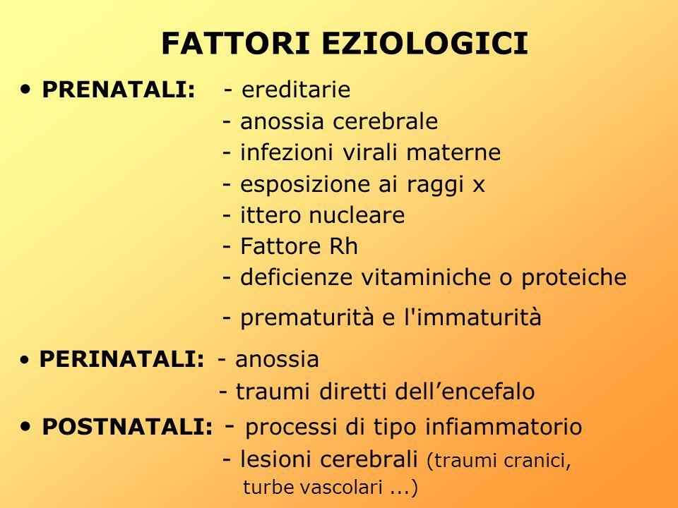 FATTORI EZIOLOGICI PRENATALI: - ereditarie - anossia cerebrale - infezioni virali materne - esposizione ai raggi x - ittero nucleare - Fattore Rh - de