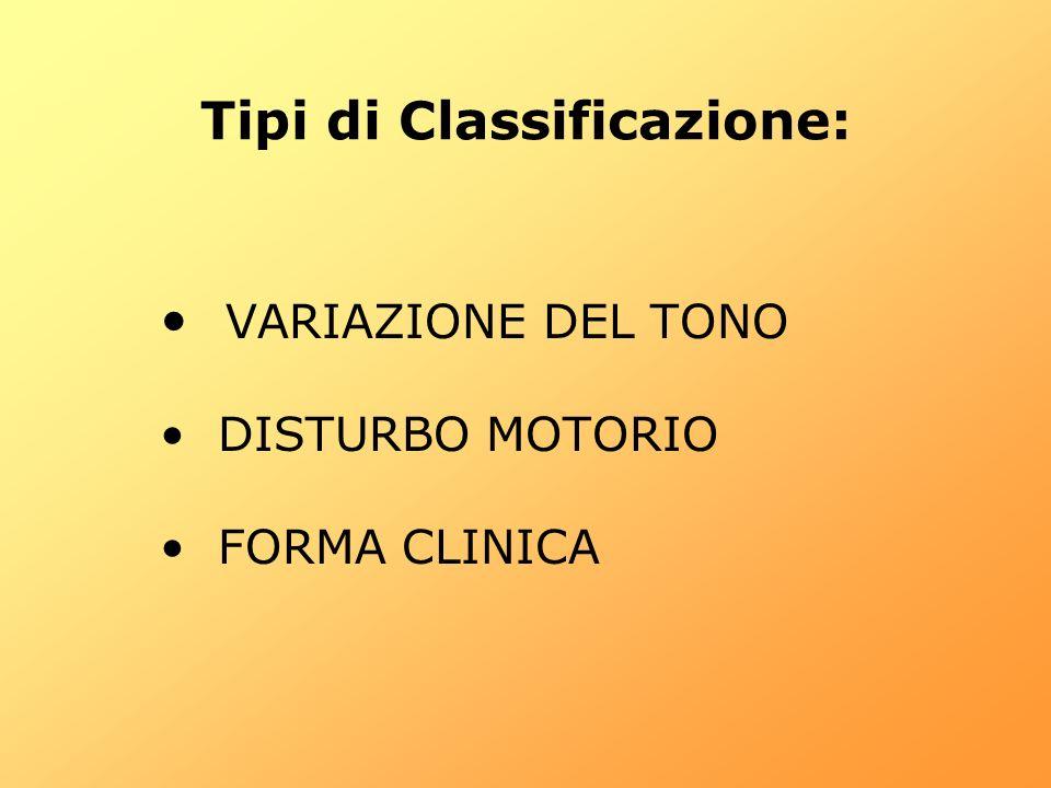 Tipi di Classificazione: VARIAZIONE DEL TONO DISTURBO MOTORIO FORMA CLINICA