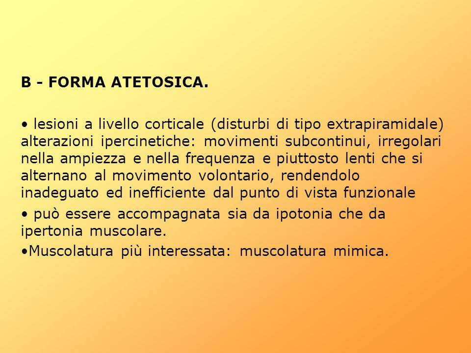 B - FORMA ATETOSICA. lesioni a livello corticale (disturbi di tipo extrapiramidale) alterazioni ipercinetiche: movimenti subcontinui, irregolari nella