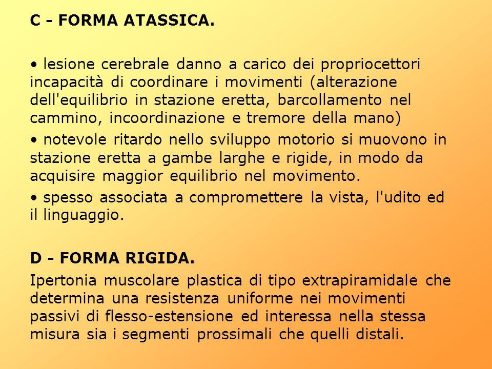 C - FORMA ATASSICA. lesione cerebrale danno a carico dei propriocettori incapacità di coordinare i movimenti (alterazione dell'equilibrio in stazione