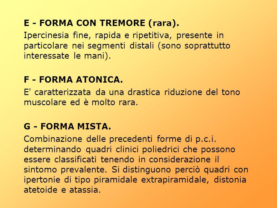 E - FORMA CON TREMORE (rara). Ipercinesia fine, rapida e ripetitiva, presente in particolare nei segmenti distali (sono soprattutto interessate le man