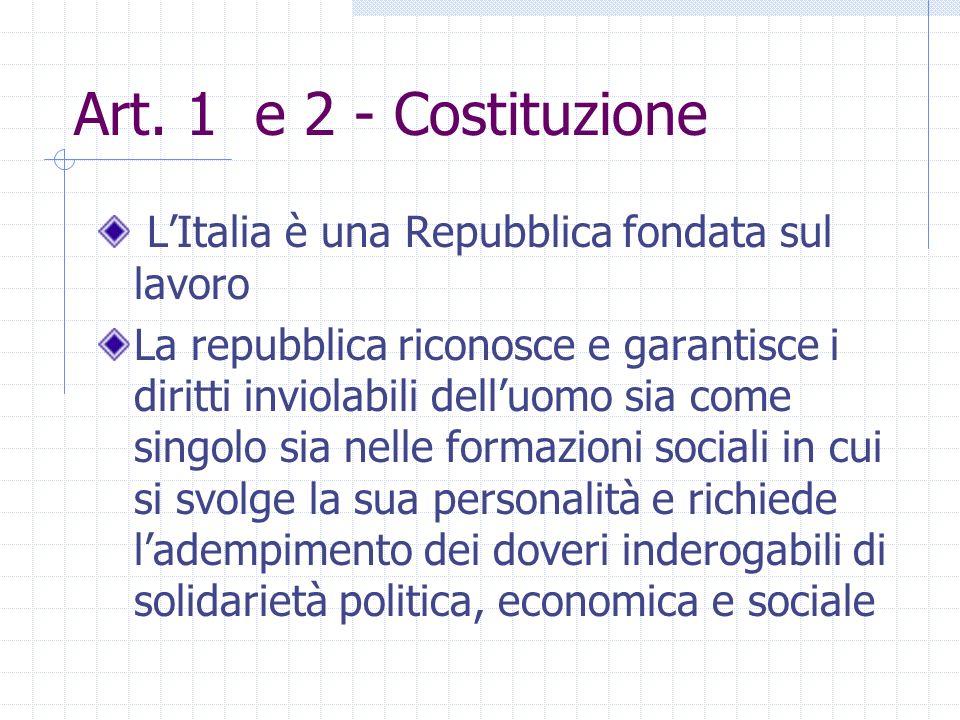Art. 1 e 2 - Costituzione LItalia è una Repubblica fondata sul lavoro La repubblica riconosce e garantisce i diritti inviolabili delluomo sia come sin