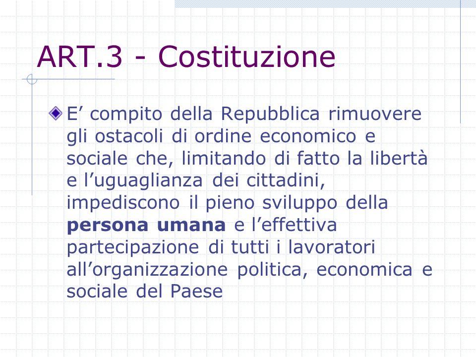 ART.3 - Costituzione E compito della Repubblica rimuovere gli ostacoli di ordine economico e sociale che, limitando di fatto la libertà e luguaglianza