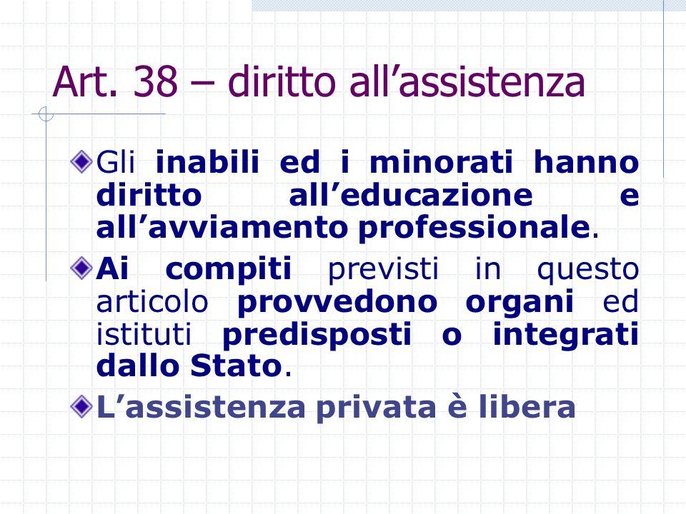 Art. 38 – diritto allassistenza Gli inabili ed i minorati hanno diritto alleducazione e allavviamento professionale. Ai compiti previsti in questo art