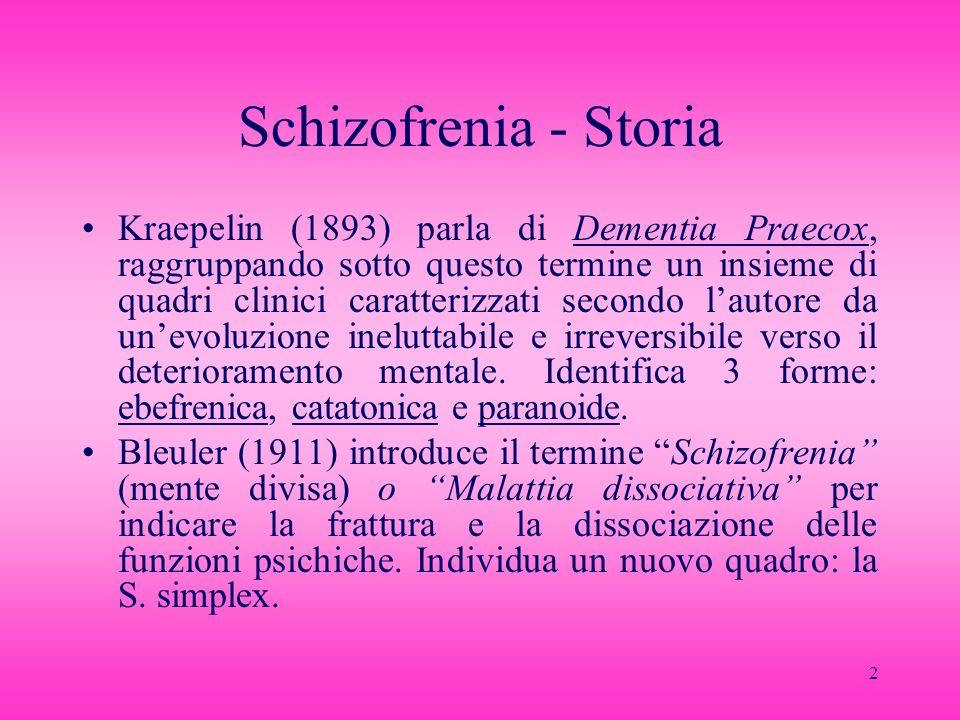 13 Forme cliniche (2) Paranoide: allucinazioni, deliri, esordio più tardivo (dopo i 20 aa.), minor alterazione della personalità Simplex: forma precoce, a lenta evoluzione, prevalenza di autismo ed isolamento assoluto dallambiente, derivazione da un tratto caratteriale preesistente (schizoidia?)