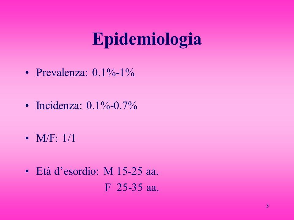 4 Eziopatogenesi Familiarità: rischio 18 volte > nei parenti di primo grado; rischio 3 volte > nei gemelli MZ rispetto ai DZ.