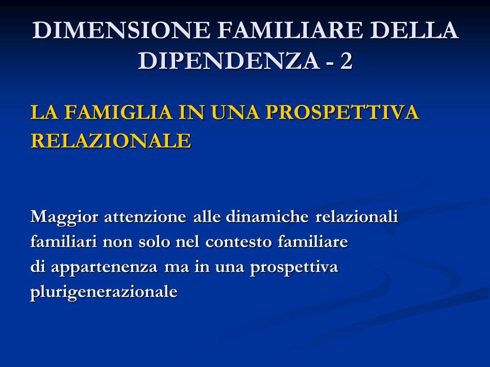 DIMENSIONE FAMILIARE DELLA DIPENDENZA - 2 LA FAMIGLIA IN UNA PROSPETTIVA RELAZIONALE Maggior attenzione alle dinamiche relazionali familiari non solo