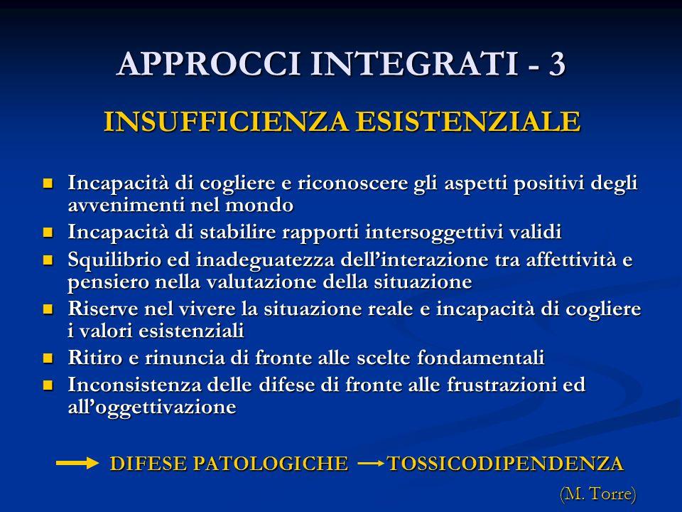 APPROCCI INTEGRATI - 3 INSUFFICIENZA ESISTENZIALE Incapacità di cogliere e riconoscere gli aspetti positivi degli avvenimenti nel mondo Incapacità di