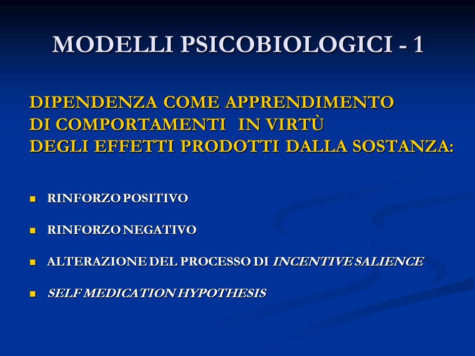 MODELLI PSICOBIOLOGICI - 1 DIPENDENZA COME APPRENDIMENTO DI COMPORTAMENTI IN VIRTÙ DEGLI EFFETTI PRODOTTI DALLA SOSTANZA: RINFORZO POSITIVO RINFORZO P