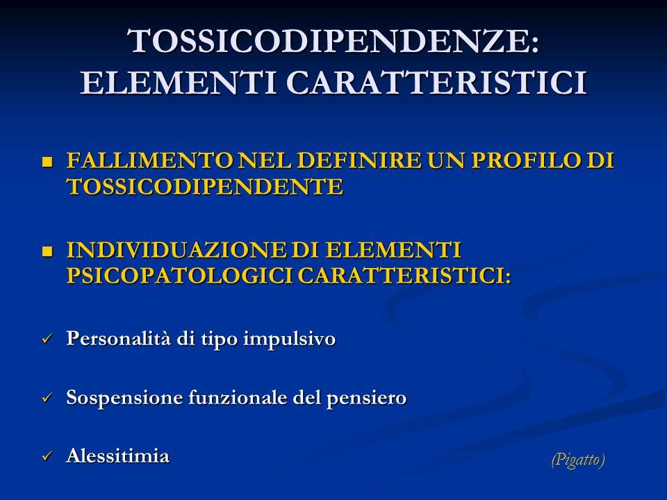TOSSICODIPENDENZE: ELEMENTI CARATTERISTICI FALLIMENTO NEL DEFINIRE UN PROFILO DI TOSSICODIPENDENTE FALLIMENTO NEL DEFINIRE UN PROFILO DI TOSSICODIPEND