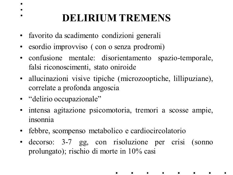 DELIRIUM TREMENS favorito da scadimento condizioni generali esordio improvviso ( con o senza prodromi) confusione mentale: disorientamento spazio-temp