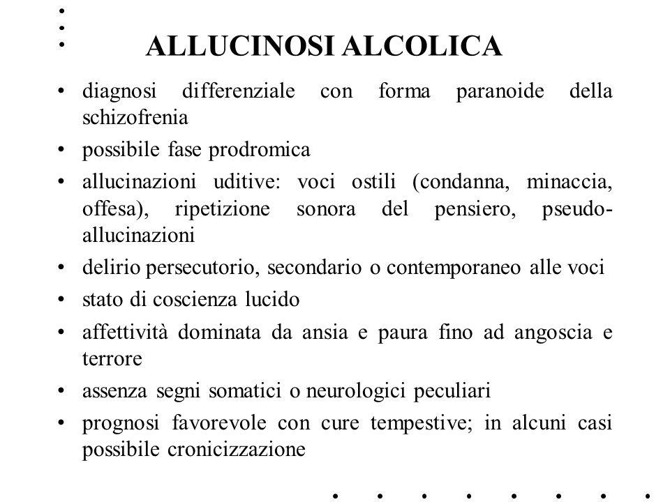 ALLUCINOSI ALCOLICA diagnosi differenziale con forma paranoide della schizofrenia possibile fase prodromica allucinazioni uditive: voci ostili (condan