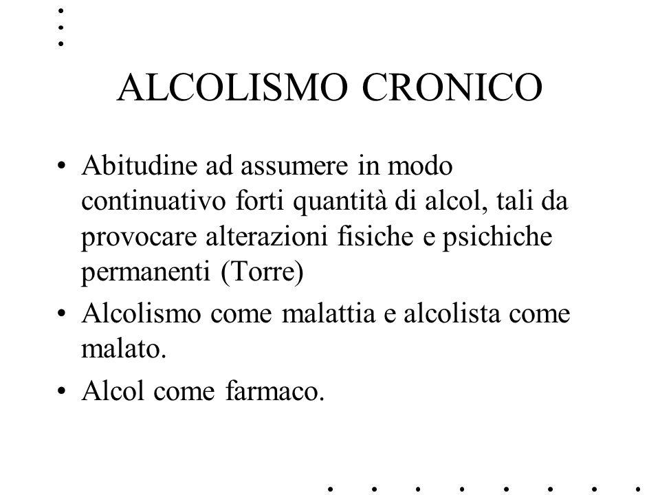 ALCOLISMO CRONICO Abitudine ad assumere in modo continuativo forti quantità di alcol, tali da provocare alterazioni fisiche e psichiche permanenti (To