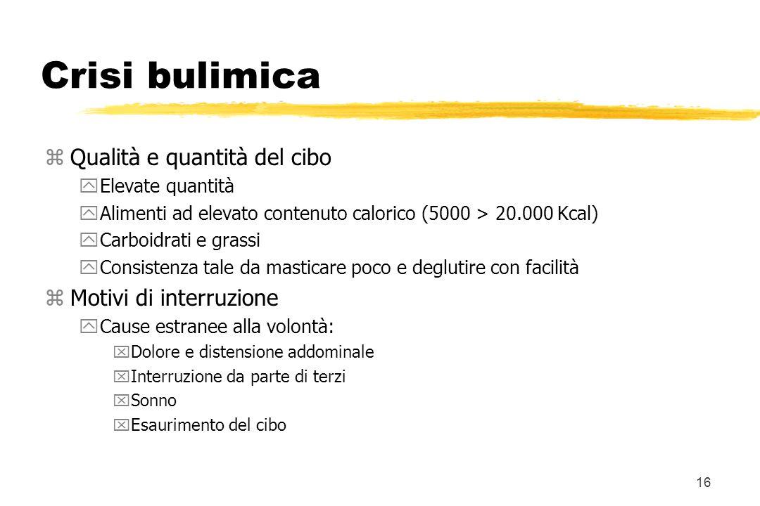 16 Crisi bulimica zQualità e quantità del cibo yElevate quantità yAlimenti ad elevato contenuto calorico (5000 > 20.000 Kcal) yCarboidrati e grassi yC