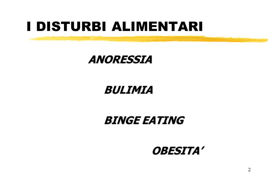 2 I DISTURBI ALIMENTARI ANORESSIA BULIMIA BULIMIA BINGE EATING OBESITA