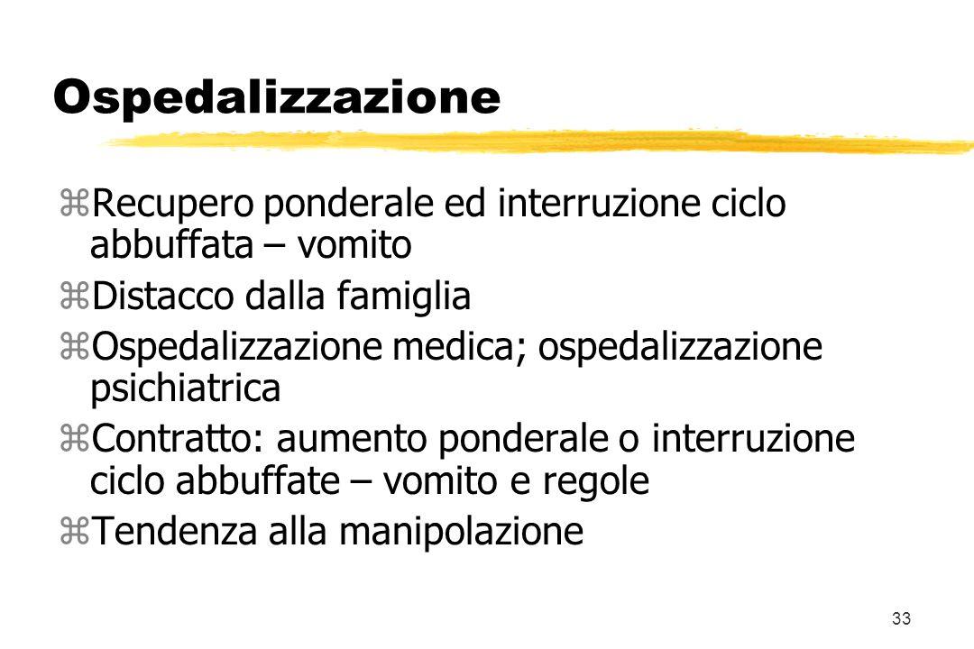 33 Ospedalizzazione zRecupero ponderale ed interruzione ciclo abbuffata – vomito zDistacco dalla famiglia zOspedalizzazione medica; ospedalizzazione p