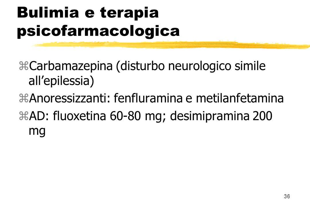 36 Bulimia e terapia psicofarmacologica zCarbamazepina (disturbo neurologico simile allepilessia) zAnoressizzanti: fenfluramina e metilanfetamina zAD: fluoxetina 60-80 mg; desimipramina 200 mg
