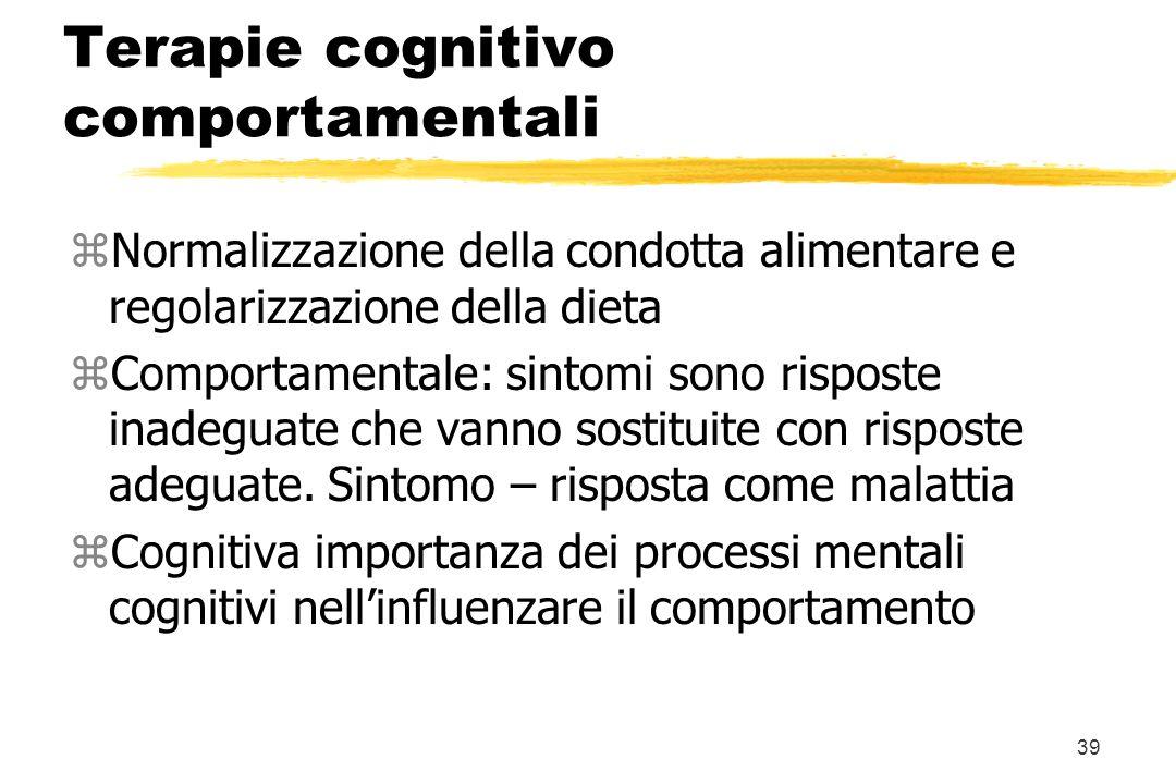 39 Terapie cognitivo comportamentali zNormalizzazione della condotta alimentare e regolarizzazione della dieta zComportamentale: sintomi sono risposte