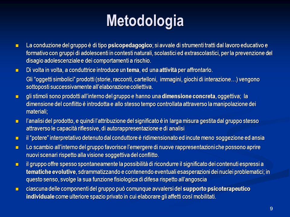 9 Metodologia La conduzione del gruppo è di tipo psicopedagogico ; si avvale di strumenti tratti dal lavoro educativo e formativo con gruppi di adoles