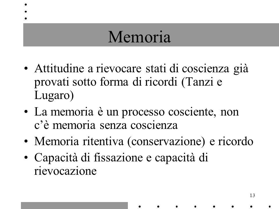 13 Memoria Attitudine a rievocare stati di coscienza già provati sotto forma di ricordi (Tanzi e Lugaro) La memoria è un processo cosciente, non cè me