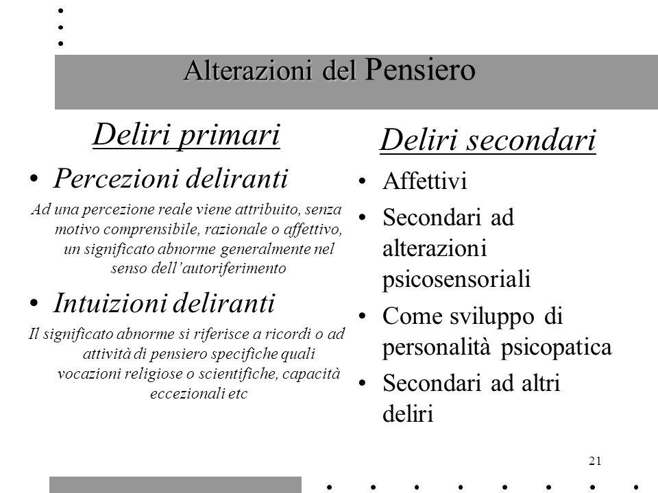21 Alterazioni del Alterazioni del Pensiero Deliri primari Percezioni deliranti Ad una percezione reale viene attribuito, senza motivo comprensibile,
