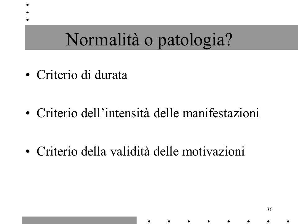 36 Normalità o patologia? Criterio di durata Criterio dellintensità delle manifestazioni Criterio della validità delle motivazioni