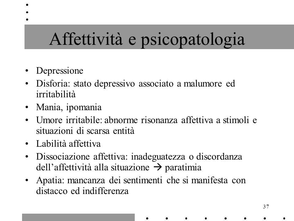 37 Affettività e psicopatologia Depressione Disforia: stato depressivo associato a malumore ed irritabilità Mania, ipomania Umore irritabile: abnorme