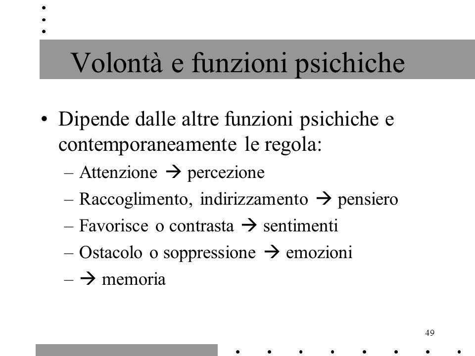 49 Volontà e funzioni psichiche Dipende dalle altre funzioni psichiche e contemporaneamente le regola: –Attenzione percezione –Raccoglimento, indirizz