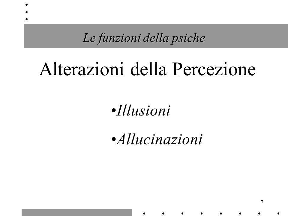 7 Le funzioni della psiche Alterazioni della Percezione Illusioni Allucinazioni