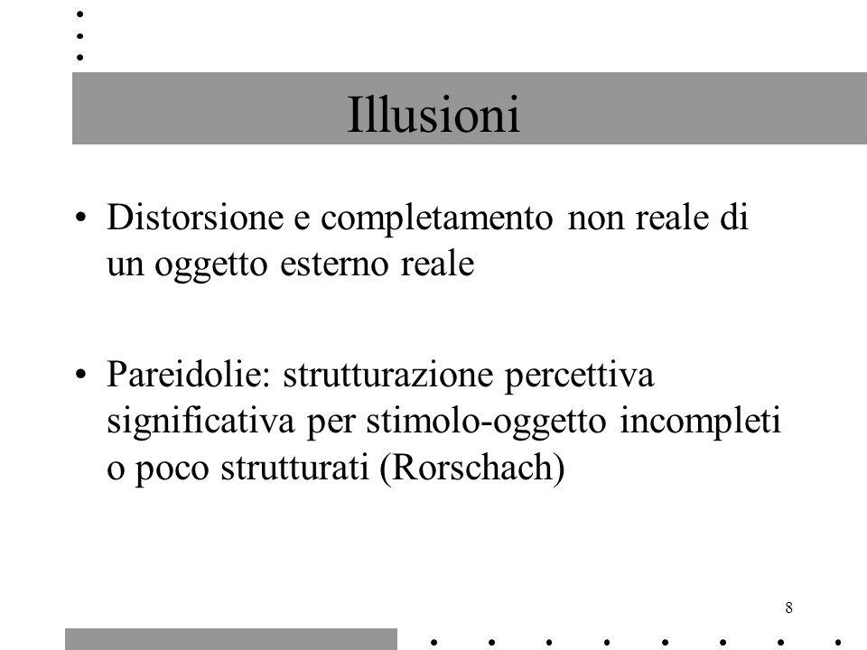 8 Illusioni Distorsione e completamento non reale di un oggetto esterno reale Pareidolie: strutturazione percettiva significativa per stimolo-oggetto