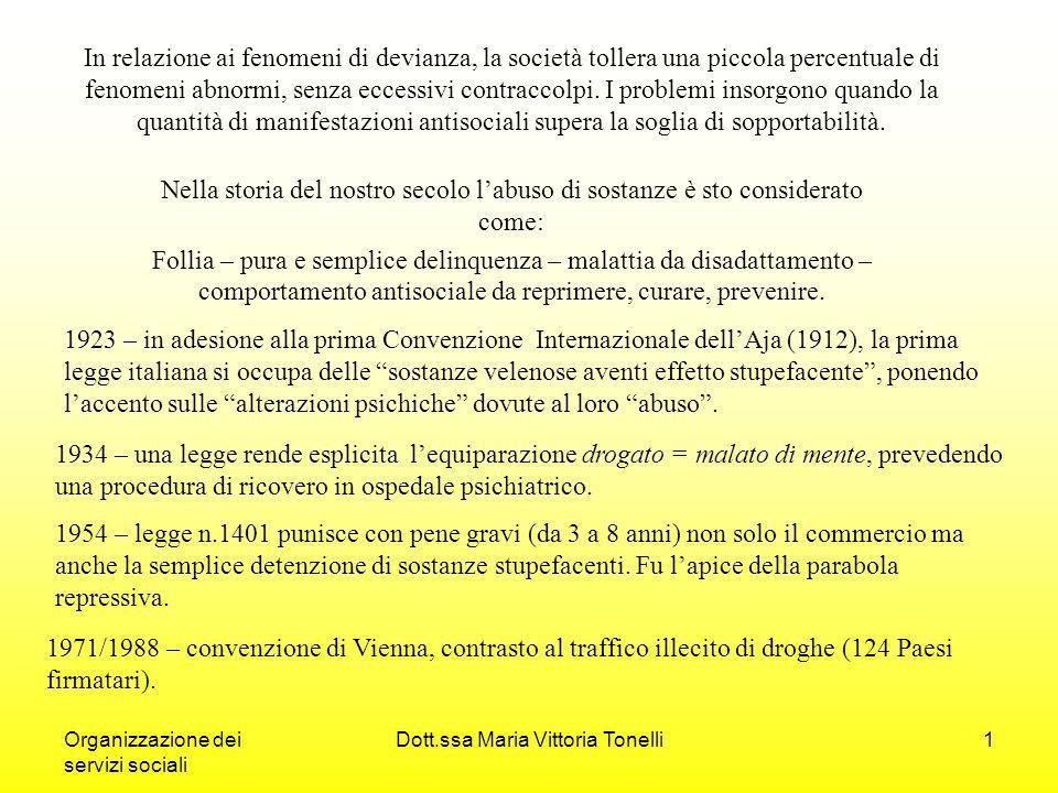 Organizzazione dei servizi sociali Dott.ssa Maria Vittoria Tonelli1 In relazione ai fenomeni di devianza, la società tollera una piccola percentuale di fenomeni abnormi, senza eccessivi contraccolpi.