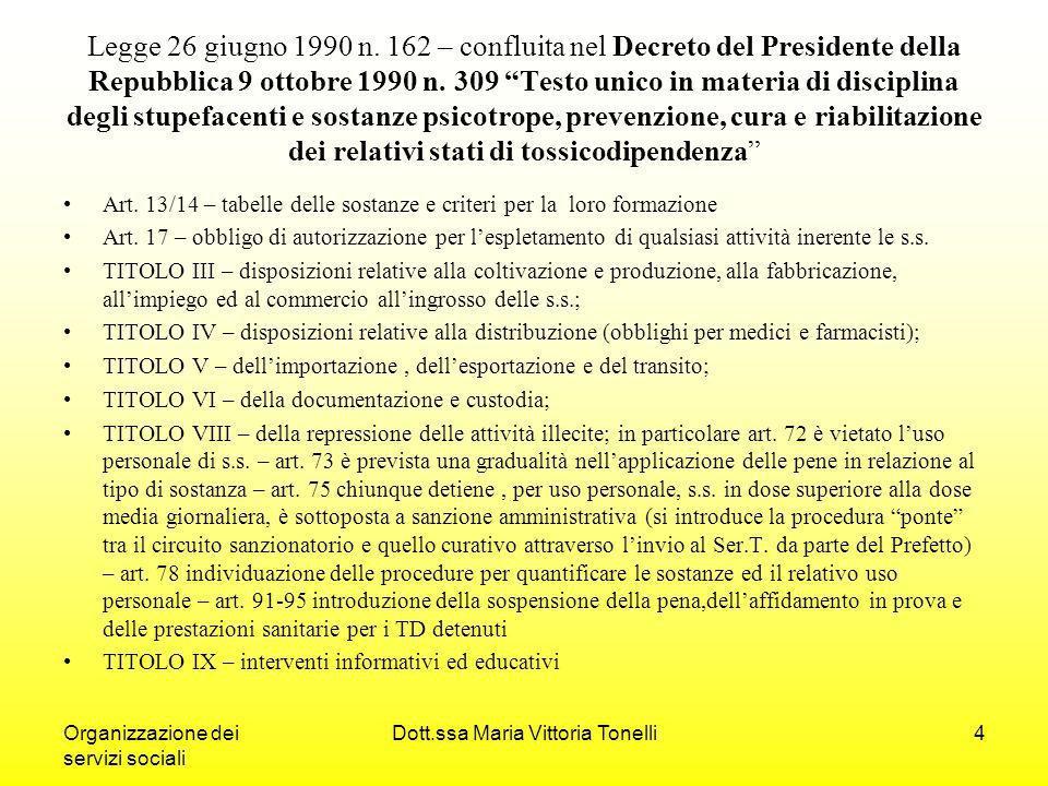 Organizzazione dei servizi sociali Dott.ssa Maria Vittoria Tonelli4 Legge 26 giugno 1990 n.