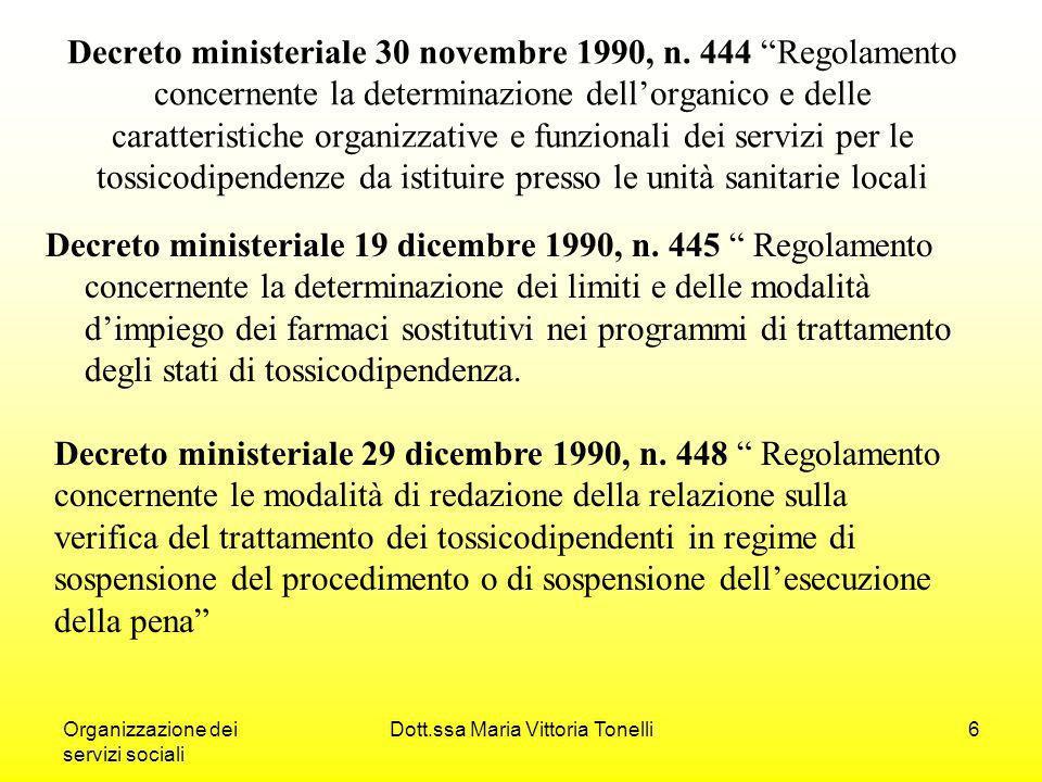 Organizzazione dei servizi sociali Dott.ssa Maria Vittoria Tonelli6 Decreto ministeriale 30 novembre 1990, n.