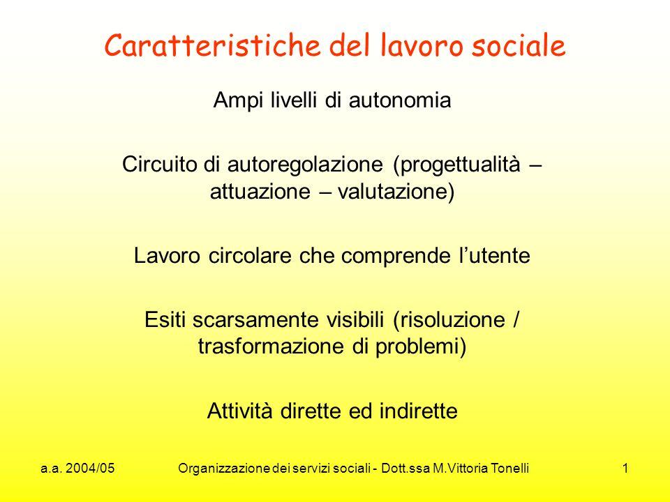 a.a. 2004/05 Organizzazione dei servizi sociali - Dott.ssa M.Vittoria Tonelli 1 Caratteristiche del lavoro sociale Ampi livelli di autonomia Circuito