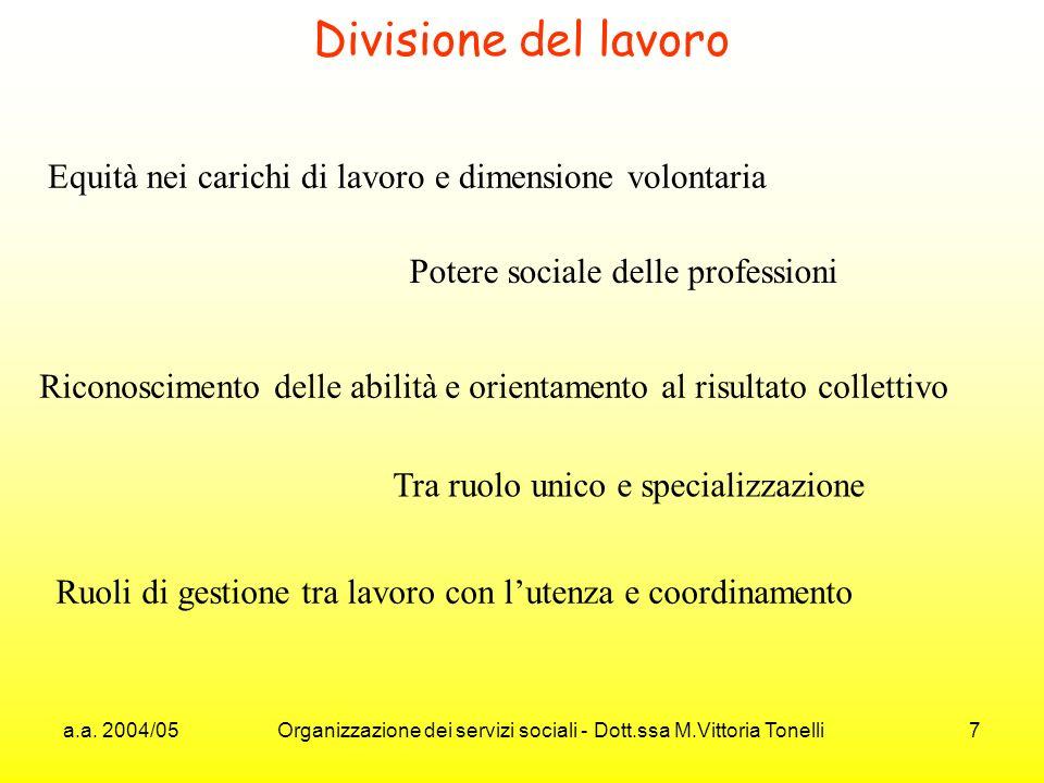 a.a. 2004/05 Organizzazione dei servizi sociali - Dott.ssa M.Vittoria Tonelli 7 Divisione del lavoro Equità nei carichi di lavoro e dimensione volonta