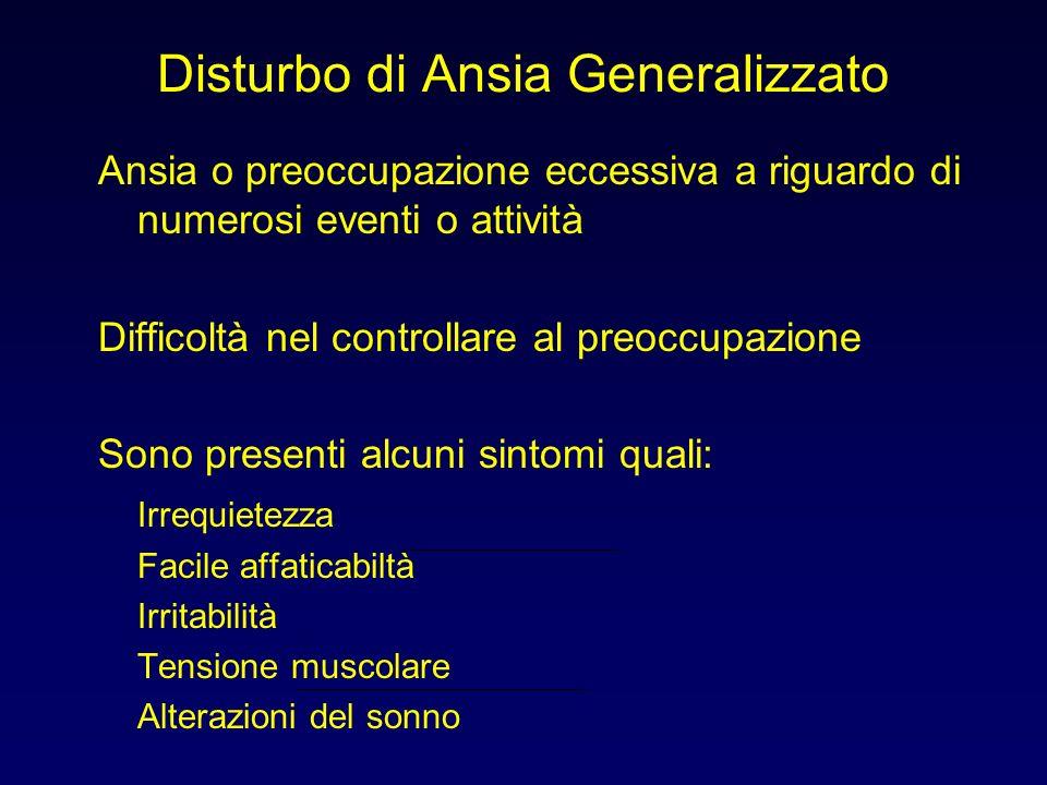 Disturbo di Ansia Generalizzato Ansia o preoccupazione eccessiva a riguardo di numerosi eventi o attività Difficoltà nel controllare al preoccupazione
