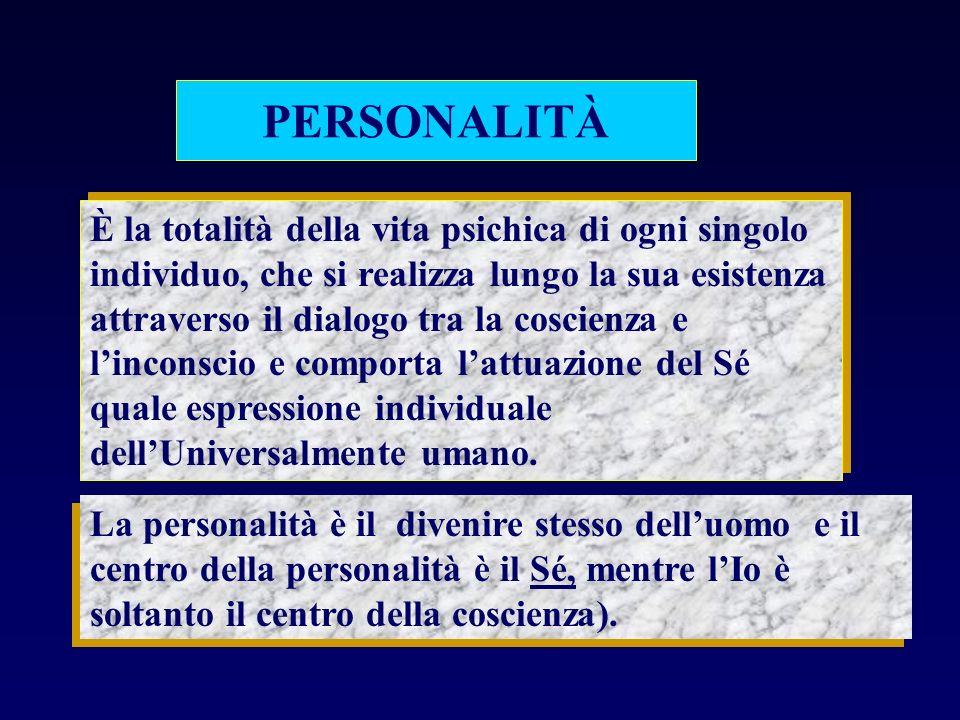 PERSONALITÀ È la totalità della vita psichica di ogni singolo individuo, che si realizza lungo la sua esistenza attraverso il dialogo tra la coscienza