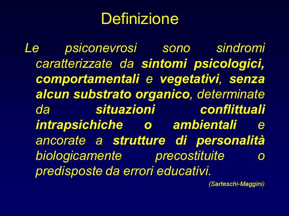 Definizione. Le psiconevrosi sono sindromi caratterizzate da sintomi psicologici, comportamentali e vegetativi, senza alcun substrato organico, determ