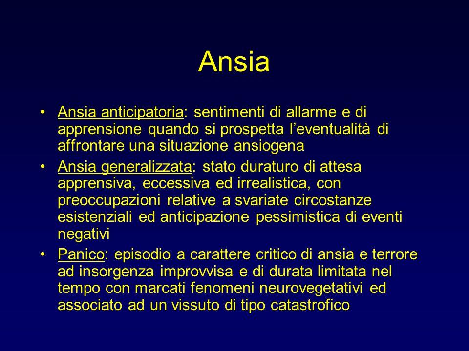 Ansia Ansia anticipatoria: sentimenti di allarme e di apprensione quando si prospetta leventualità di affrontare una situazione ansiogena Ansia genera