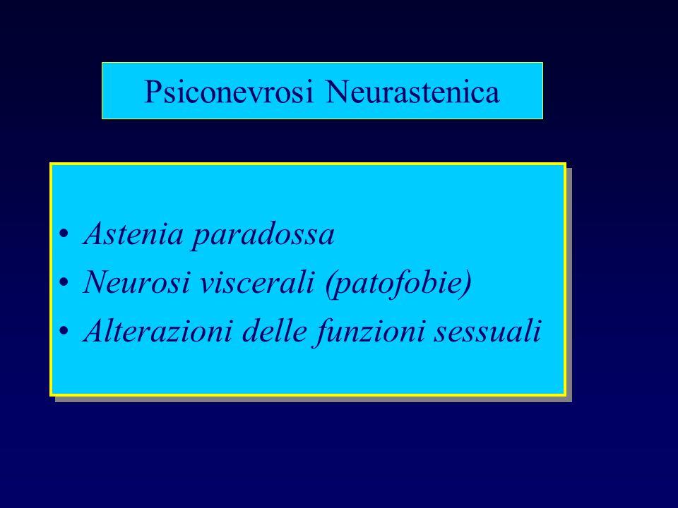 Psiconevrosi Neurastenica Astenia paradossa Neurosi viscerali (patofobie) Alterazioni delle funzioni sessuali Astenia paradossa Neurosi viscerali (pat