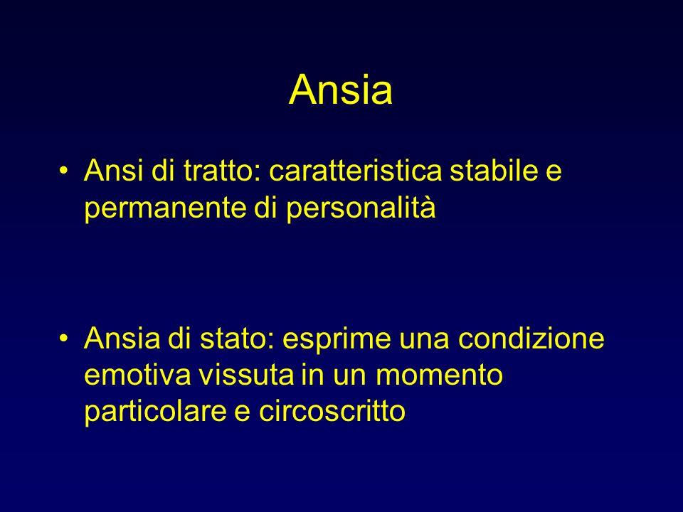 Ansia Ansia primaria: disturbo autonomo Ansia secondaria: sintomo in un disturbo psichico